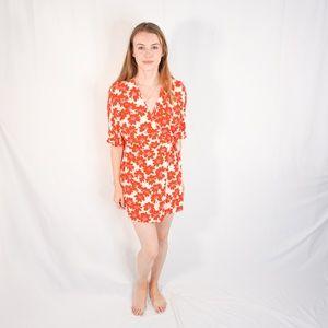 ZARA Red Floral Mini Wrap Dress Bracelet Sleeve